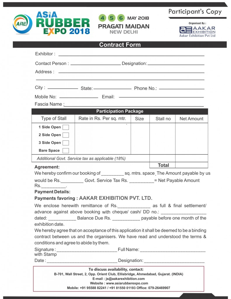 Exhibitor Booking Form